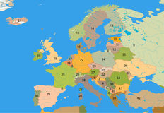 Educational map of Europe. Great map of Europe for educational purposes Royalty Free Stock Photography