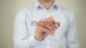 Educational Marketing , man writing on transparent screen stock video footage