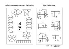 Educational math activity page with two puzzles and coloring - fractions, spatial skills Stock Photo