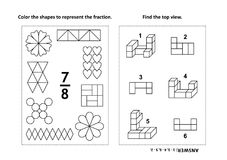 Educational math activity page with two puzzles and coloring - fractions, spatial skills Royalty Free Stock Images