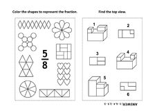 Educational math activity page with two puzzles and coloring - fractions, spatial skills Stock Image
