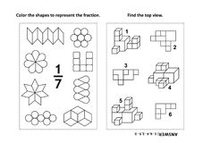 Educational math activity page with two puzzles and coloring - fractions, spatial skills. Two visual math puzzles and coloring pages. Color the shapes to Stock Photo