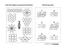 Educational math activity page with two puzzles and coloring - fractions, spatial skills. Two visual math puzzles and coloring pages. Color the shapes to Stock Photos