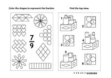 Educational math activity page with two puzzles and coloring - fractions, spatial skills. Two visual math puzzles and coloring pages. Color the shapes to royalty free illustration