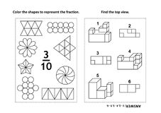 Educational math activity page with two puzzles and coloring - fractions, spatial skills. Two visual math puzzles and coloring pages. Color the shapes to Royalty Free Stock Images
