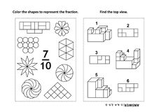 Educational math activity page with two puzzles and coloring - fractions, spatial skills. Two visual math puzzles and coloring pages. Color the shapes to Stock Image