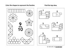 Educational math activity page with two puzzles and coloring - fractions, spatial skills. Two visual math puzzles and coloring pages. Color the shapes to stock illustration