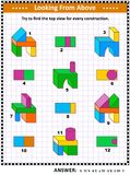 Find top view visual math puzzle with buiding blocks. Educational math puzzle: Find the top view for each of the toy building blocks structures. Answer included Stock Image