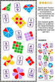 Educational math puzzle with fractions Stock Images