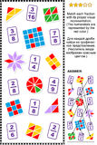 Educational math puzzle with fractions Royalty Free Stock Images