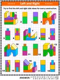Find left and right side views visual math puzzle with building blocks. Educational math puzzle: Try to find the left and right side views for every construction stock illustration