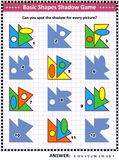 Basic shapes learning and practice math visual puzzle royalty free stock image
