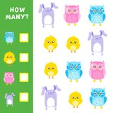 Educational mathematical game for kids. How many animals calculation. Vector illustration Stock Photo