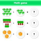 Educational a mathematical game. Logic task for children. subtraction. Vegetables. Broccoli, beets, pumpkin. Vector illustration. Educational a mathematical game stock illustration