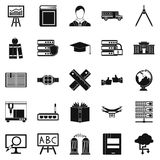 Educational matters icons set, simple style. Educational matters icons set. Simple set of 25 educational matters vector icons for web isolated on white Royalty Free Stock Photography