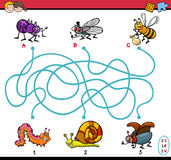 Educational maze task for kids. Cartoon Illustration of Educational Paths or Maze Puzzle Task for Preschool Children with Insect Characters Stock Images