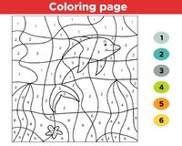 Educational number coloring page for preschool kids. Underwater theme. Cute cartoon dolphin. Vector illustration stock illustration