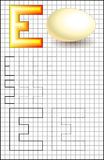 Educational page with alphabet letter E on a square paper. Stock Image