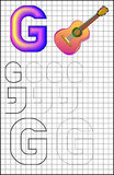 Educational page with alphabet letter G on a square paper. Stock Photography