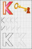 Educational page with alphabet letter K on a square paper. Stock Photos