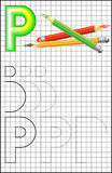 Educational page with alphabet letter P on a square paper. Royalty Free Stock Image