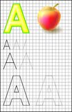 Educational page with alphabet letter A on a square paper. Royalty Free Stock Image