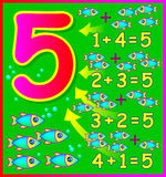 Educational page for children with compositions of number 5. Royalty Free Stock Image