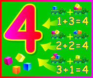 Educational page for children with compositions of number 4. Royalty Free Stock Images