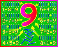 Educational page for children with compositions of number 9. Stock Photo
