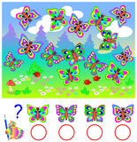 Educational page for children. Count identical butterflies and write numbers in relevant circles. Logic puzzle game. Vector cartoon image. Scale to any size Stock Photo