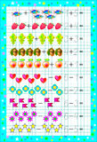 Educational page for children with exercises on a square paper with number 6. Stock Photos