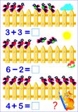 Educational page for children with exercises on subtraction. Need to solve examples and to write the answers. Vector cartoon image. Scale to any size without Royalty Free Stock Photo