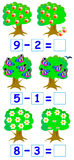 Educational page for children with exercises on subtraction. Royalty Free Stock Photography