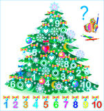 Educational page for children. Find the numbers hidden in the Christmas tree and paint them in relevant colors. Vector cartoon image. Scale to any size without Stock Image