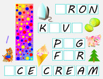 Educational page for children with letter I for study English. Need to write the letters in the empty squares. Vector cartoon image. Developing children skills Royalty Free Stock Photos