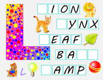 Educational page for children with letter L for study English. Need to write the letters in the empty squares. Vector cartoon image. Developing skills for Royalty Free Stock Image