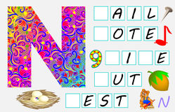Educational page for children with letter N for study English. Need to write the letters in the empty squares. Vector cartoon image. Developing children skills Stock Images