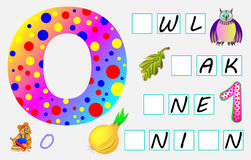 Educational page for children with letter O for study English. Need to write the letters in the empty squares. Vector cartoon image. Developing children skills Royalty Free Stock Photography