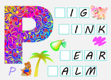Educational page for children with letter P for study English. Need to write the letters in the empty squares. Vector cartoon image. Developing children skills Stock Photo
