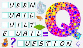 Educational page for children with letter Q for study English. Need to write the letters in the empty squares. Vector cartoon image. Developing skills for Royalty Free Stock Images