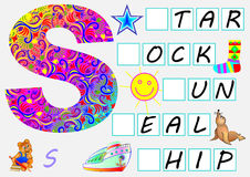 Educational page for children with letter S for study English. Need to write the letters in the empty squares. Vector cartoon image. Developing skills for Stock Image