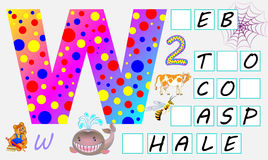 Educational page for children with letter W for study English. Need to write the letters in the empty squares. Vector cartoon image. Developing skills for Royalty Free Stock Photos