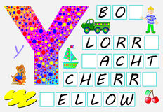Educational page for children with letter Y for study English. Need to write the letters in the empty squares. Vector cartoon image. Developing skills for Stock Photos