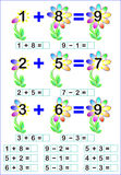 Educational page for children with mathematical exercises. Royalty Free Stock Photography