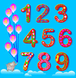 Educational page for children with set of funny numbers. Stock Images