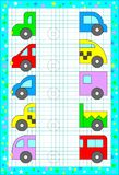 Educational page for children on a square paper. Find, draw and paint the second parts of the cars. Vector cartoon image. Scale to any size without loss of Stock Image