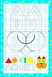 Educational page for children on a square paper with geometric figures. Vector cartoon image. Scale to any size without loss of resolution Royalty Free Stock Images