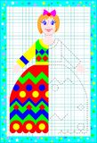 Educational page for children on a square paper. Need to draw the second part of dolls dress considering the symmetry. Vector cartoon image. Scale to any size Royalty Free Stock Photography