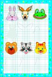Educational page for children on a square paper. Need to draw the shadows of animals corresponding the images. Royalty Free Stock Image