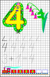Educational page for children on a square paper with number 4. Developing skills for counting. Stock Photos